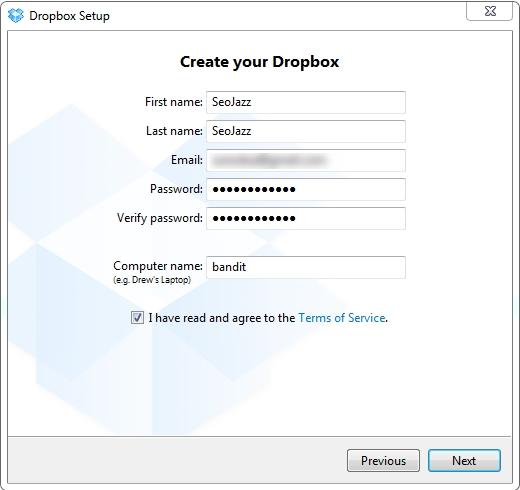 Создание аккаунта на Dropbox