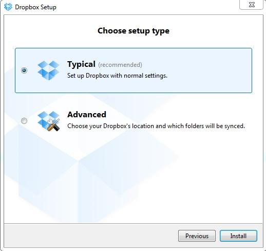 Выбор папки для Dropbox